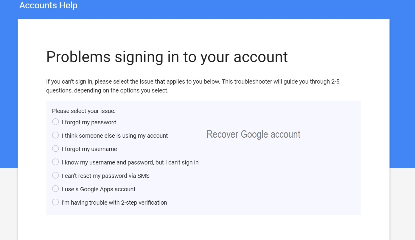 hacked google account recovery